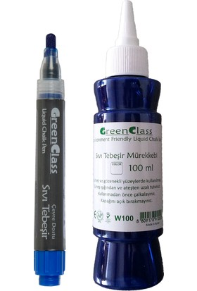 Green Class Sıvı Tebeşir Tahta Kalemi Seti - Mavi