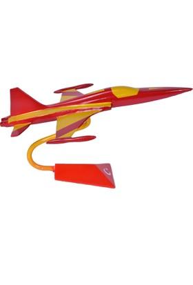 CajuArt Dekoratif F-5 Uçak Maketi Sarı-Kırmızı El Yapımı Uçak Modeli