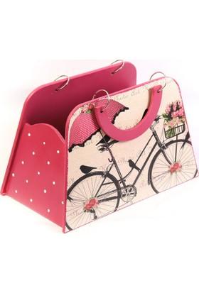 Rasha Home Ahşap Gazetelik - Bisiklet Resimli