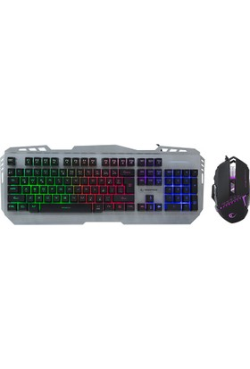 Everest Rampage KM-RX8 Usb Gökkuşağı Zemin Aydınlatmalı Q Standart Klavye + Mouse Set