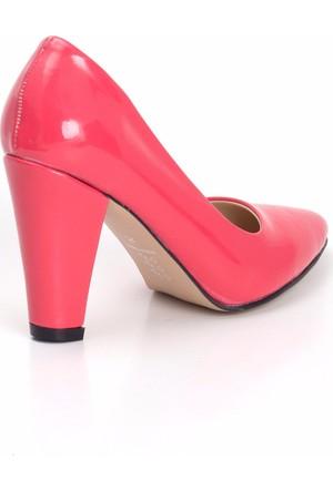 Erbilden Gök Fuşya Rugan Bayan Kalın Topuklu Ayakkabı