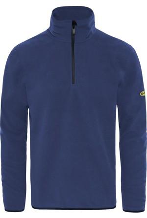 GriSport Mavi Erkek Yarım Fermuarlı Spor Polar