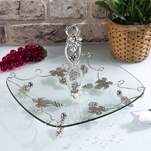 şener cam-400199 gümüş kare kulplu cam meyvelik