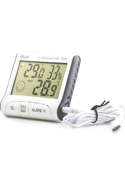 Diwu Dc103 İç Dış Max-Min Prob Termometre Nem Ölçer