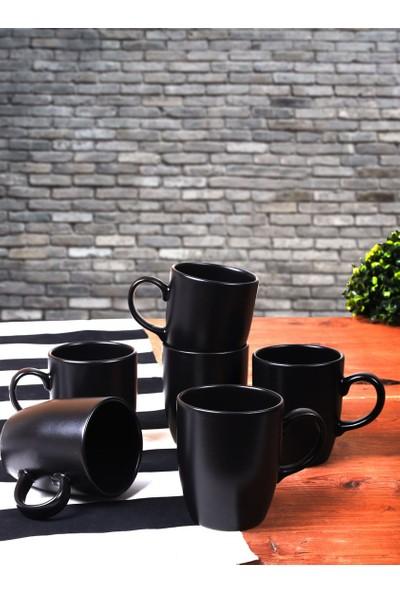 Keramika Mat Siyah Bulut Kupa 9 Cm 6 Adet
