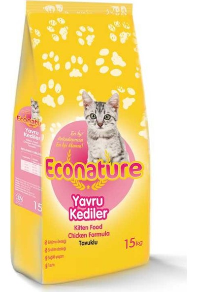 Econature Tavuklu Yavru Kedi Maması 15 Kg