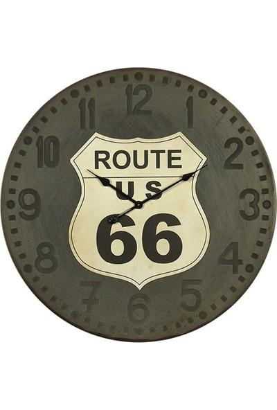 Wenge Home Ahşap Route Us 66 Duvar Saati