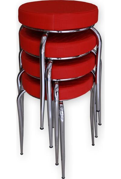 Özçelik Tabure Seti - 4 Adet (Kırmızı)
