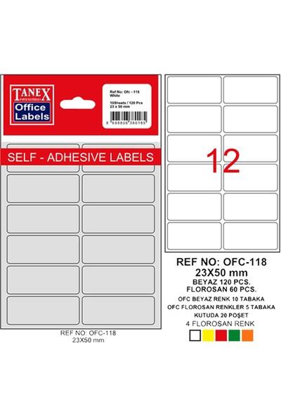 Tanex Ofis Etiketi Ofc-118 Beyaz 23-50Mm