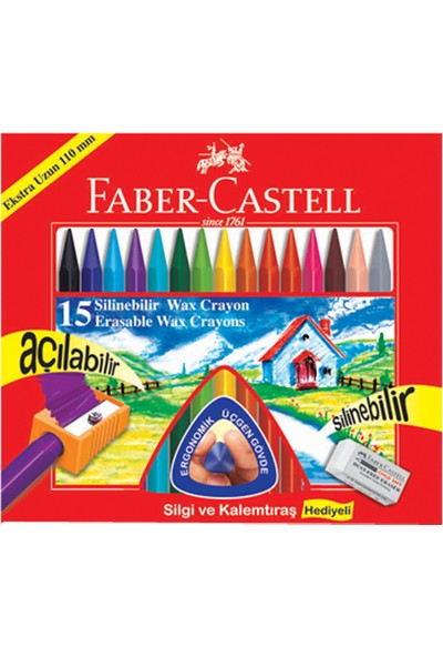 Faber Mum Boya 15 Renk Wax Crayon