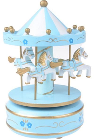 Nostaljik El Yapımı Atlıkarınca Müzik Kutusu Mavi Beyaz