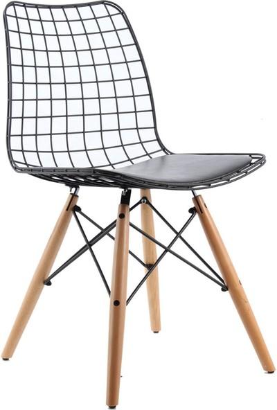 Ak Sandalye Tel Ahşap Ayak Mila