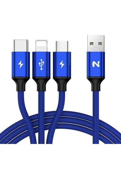 Nohon 3 in 1 Şarj Kablosu Örgülü Mavi Micro Type C Ligthning