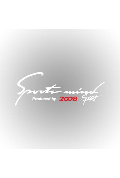 Otografik - Peugeot 2008 Sports Mind Oto Sticker 30 cm x 11 cm Beyaz