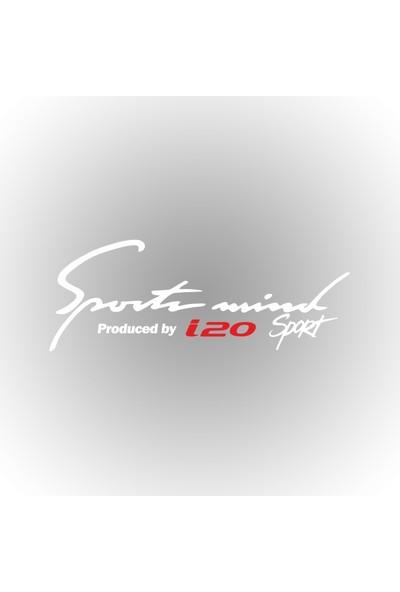 Otografik - Hyundai i20 Sports Mind Oto Sticker 30 cm x 11 cm Beyaz