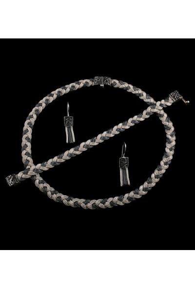 Akyüz Gümüş Örgülü Mardin Hasırı Gümüş Set