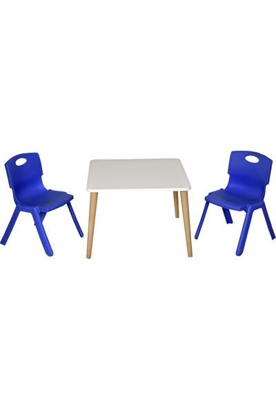 Lilabebe Çocuk Oyun Resim Masası 2 Sandalye 1 Masa ( Mavi )