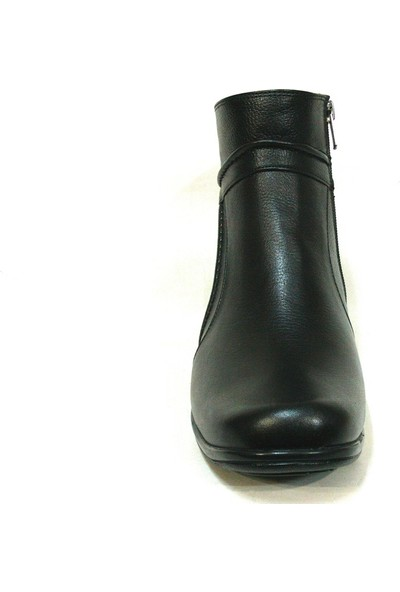 Lucianna Bella 053 Siyah Fermuarlı Dolgu Topuk Bayan Bot