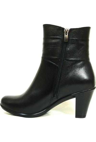 Lucianna Bella 405 Siyah Fermuarlı Topuklu Bayan Bot