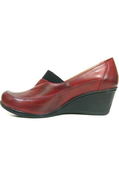 Lucianna Bella 180 Bordo Anatomik Dolgu Topuk Ayakkabı