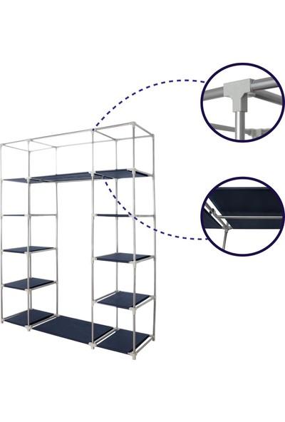 Prado Stark Çelik Profilli Bez Dolap - Lacivert