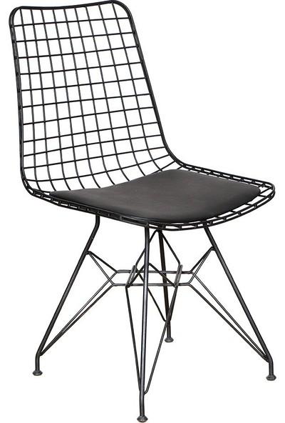 Ak Sandalye Kafes Tel Sandalye Siyah