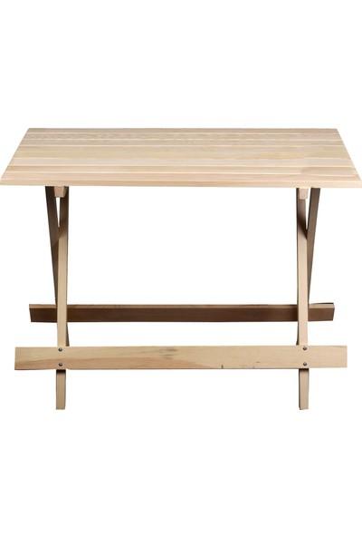 Katlanır piknik masası Doğal çam ağacı 60x90 Cm