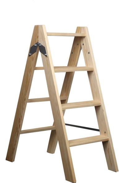 Ahşap A tipi çift taraflı kullanım 4 Basamaklı Merdiven 100x40 Cm