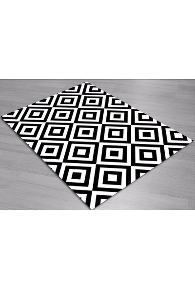 Jungle Halı Siyah Beyaz Trend 3 Boyutlu Tasarım Halı