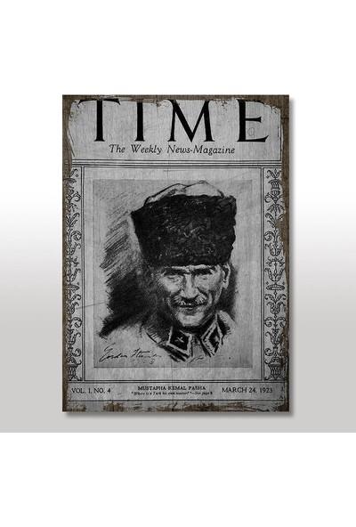 Tablomega Ahşap Tablo Mustafa Kemal ATATÜRK Time Gazetesi 25x35 Cm