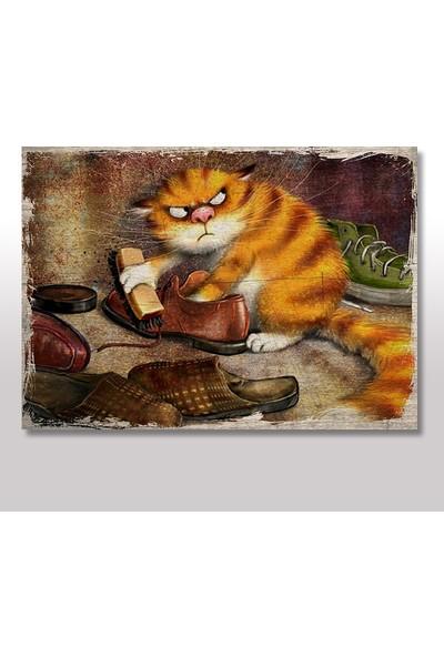 Tablomega Ahşap Tablo Ayakkabı Boyacı Kedi 50X70 Cm