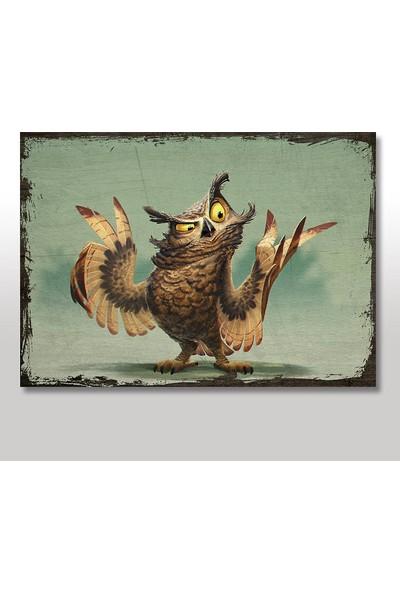 Tablomega Ahşap Tablo illustrasyon baykuş 50X70 Cm
