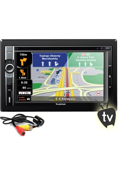 Techlink Te-6500 Navigasyonlu Dvd Tv Usb Sd Double Teyp + Kamera