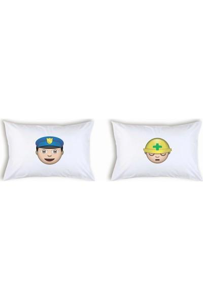 Hediye Mucidi Polis Ve Baretli Emoji Çift Yastık Kılıfı