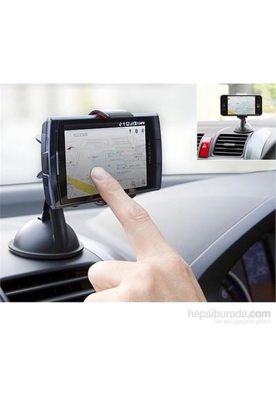 Araç İçi Telefon / Navigasyon Tutucu - 360 Derece Dönebilir Güçlü Kilit Vantuzlu
