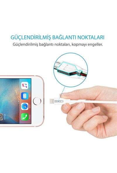 Anker PowerLine+ Lightning 0.9 Metre Örgülü Apple Lisanslı iPhone iPad Kablo - Kırmızı - Taşıma Çantalı