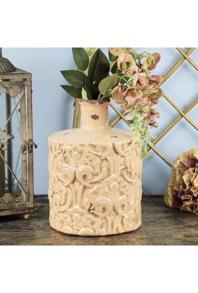 Ancel Stı 32636-5 Eskitme Desenli Pembe Dekoratif Vazo