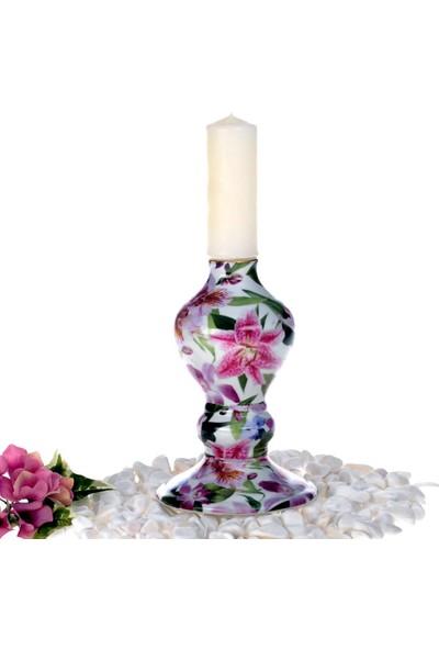 Ancel Xllc1794-C Porselen Köşeli Mumluk Orkide