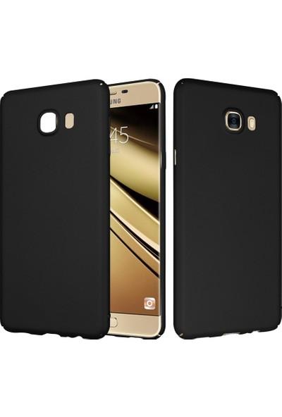 CaseUp Samsung Galaxy C5 Rubber Kılıf Siyah + Cam Ekran Koruyucu