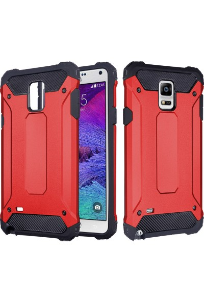 CaseUp Samsung Galaxy Note 4 Tank Kılıf Kırmızı + Cam Ekran Koruyucu