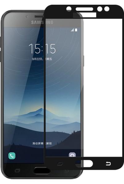 Microsonic Samsung Galaxy C8 Tam Kaplayan Temperli Cam Ekran Koruyucu Siyah