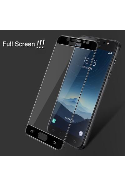 Microsonic Samsung Galaxy C8 Tam Kaplayan Temperli Cam Ekran Koruyucu Beyaz