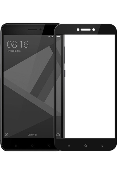 Microsonic Xiaomi Redmi 4X Tam Kaplayan Temperli Cam Ekran Koruyucu Siyah