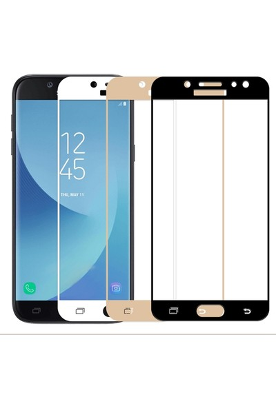 Microsonic Samsung Galaxy J3 Pro Tam Kaplayan Temperli Cam Ekran Koruyucu Gold
