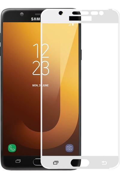 Microsonic Samsung Galaxy J7 Max Tam Kaplayan Temperli Cam Ekran Koruyucu Beyaz