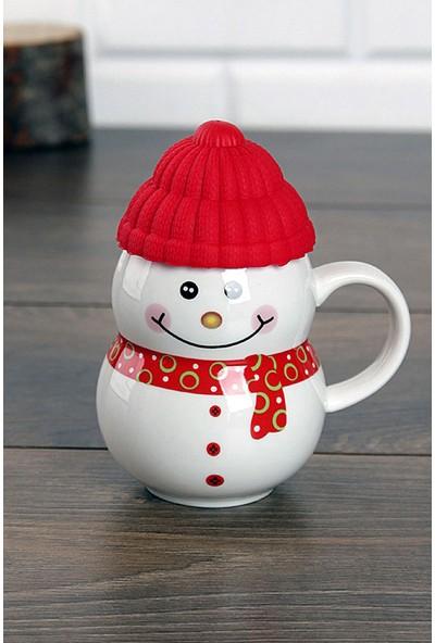 Kardan Adam Porselen Kırmızı Kupa
