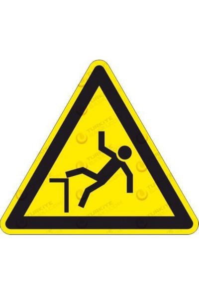 Düşme Tehlikesi - İş Güvenliği Levhası - H:30 cm - Dekota