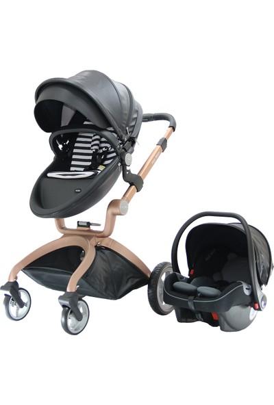 Yoyko Hotmom Travel Sistem Bebek Arabası Ana Kucaklı Siyah Rose Kasa