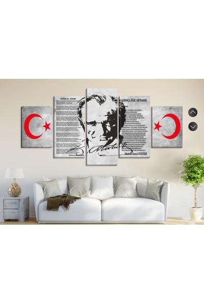 Dekorme Gri Atatürk İstiklal Marşı Ve Andımız Kanvas Tablo