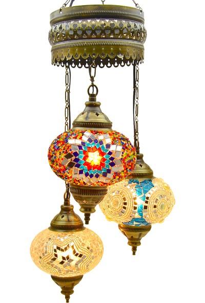 Otantik 3'Lü Tavan Sarkıt Avize Mozaik Lamba Gece Lambası